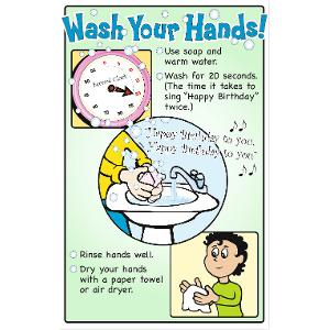 Wash Your Hands! Bulletin-Board-Size Poster (Laminated)