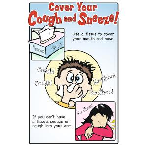 Cover Your Cough and Sneeze! Poster (Laminated)