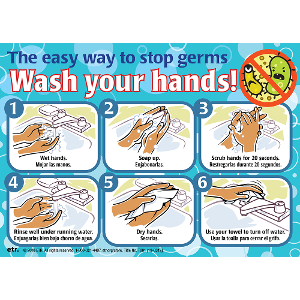 Wash Your Hands! Mirror/Wall Cling (Bilingual English/Spanish)