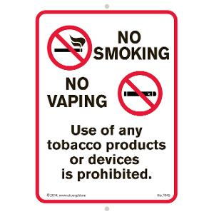No Smoking No Vaping Indoor/Outdoor Sign