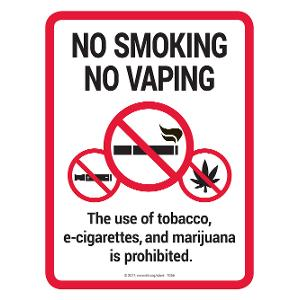 No Smoking / No Vaping / No Marijuana Sign