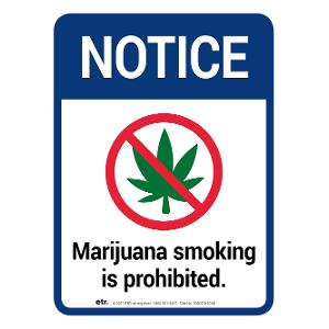 Notice: Marijuana Smoking is Prohibited Sign