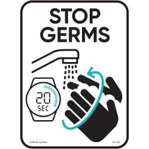 Stop Germs Aluminum Indoor/Outdoor Sign