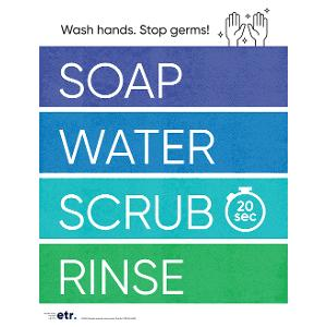 Soap, Water, Scrub, Rinse Poster (Laminated)