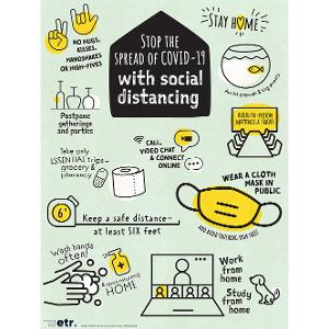 Stop the Spread with Social Distancing Poster (Laminated)