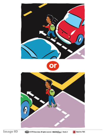 HealthSmart poster: Crossing streets safely.
