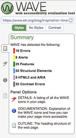 Results of WAVE accessibility scan on a web page.