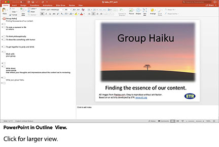 PowerPoint slide in Outline View