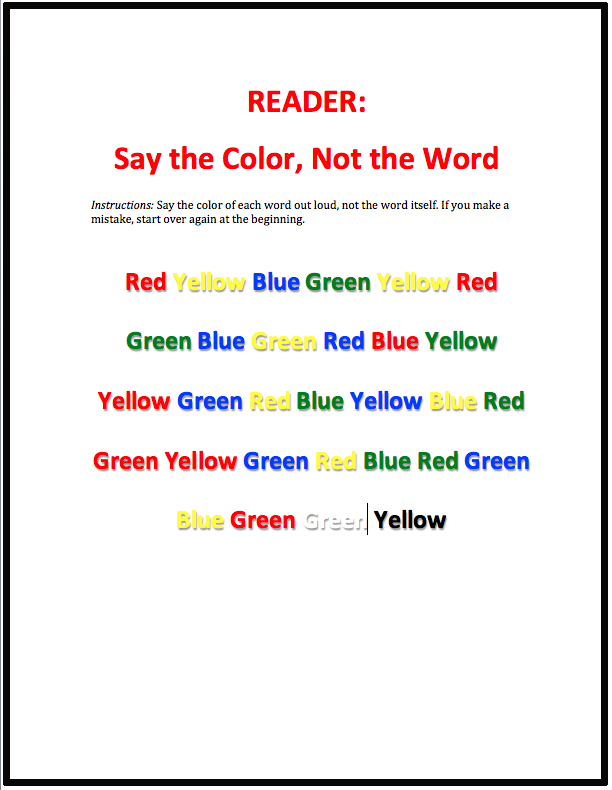 Facilitation Quick Tips Say The Color Not Word