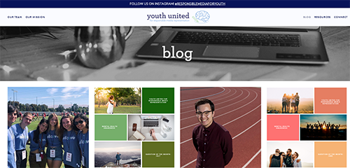 Home page for Youth United blog